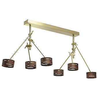 Glasberg - LED semi-incasso soffitto Light sei regolabile In raso oro con tonalità di legno 725010406