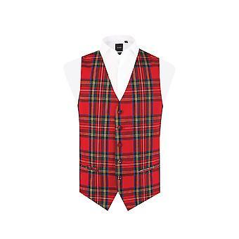 Dobell Boys Red Tartan Waistcoat Regular Fit
