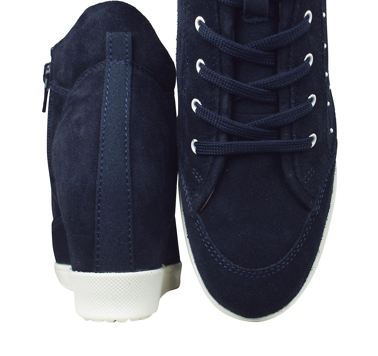 Geox D Carum C Womens Suede Leather Wedge Trainers / Boots - Navy