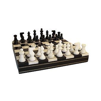 Black & White Alabaster Inlaid Chest Chess Set