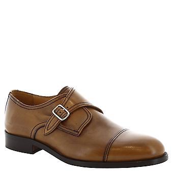 Leonardo sko mands håndlavede tan læder munk sko