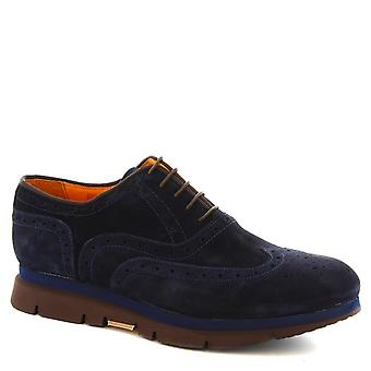 Leonardo Schuhe Man Handgeklöppelte Ups Schuhe in blau Veloursleder