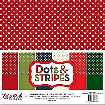 Echo Park Christmas Silver Foil Dot 12x12 Inch Collection Kit