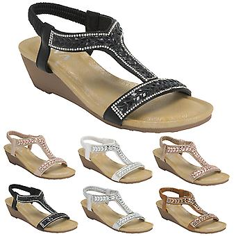 Womens Pull On Platform Diamante Open Toe Holiday Wedge Heeled Sandals UK 3-8