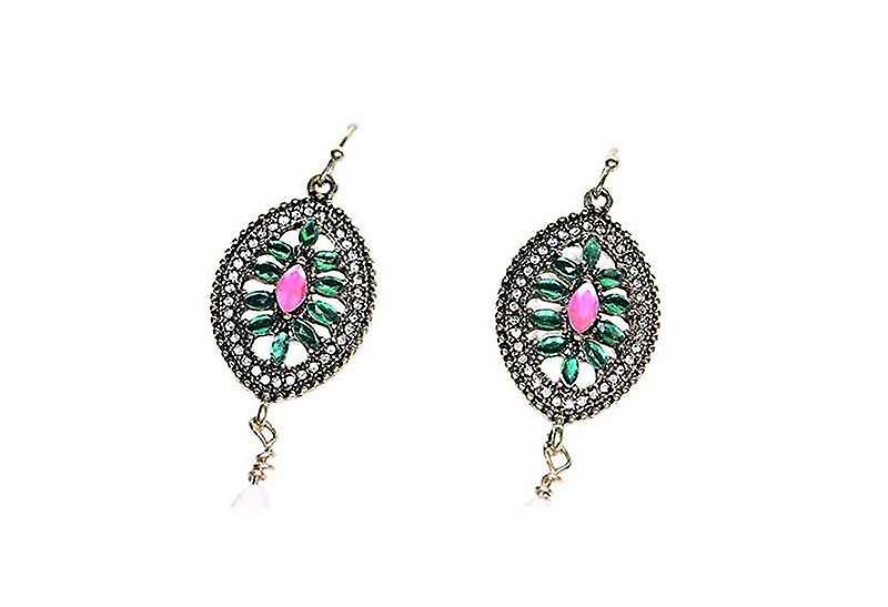 Trendy Stained Glass Teardrop Dangle Drop Earrings
