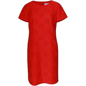 Just White Red Circle Design Short Sleeve Dress