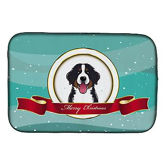 Bernese Mountain Dog Merry Christmas Dish Drying Mat