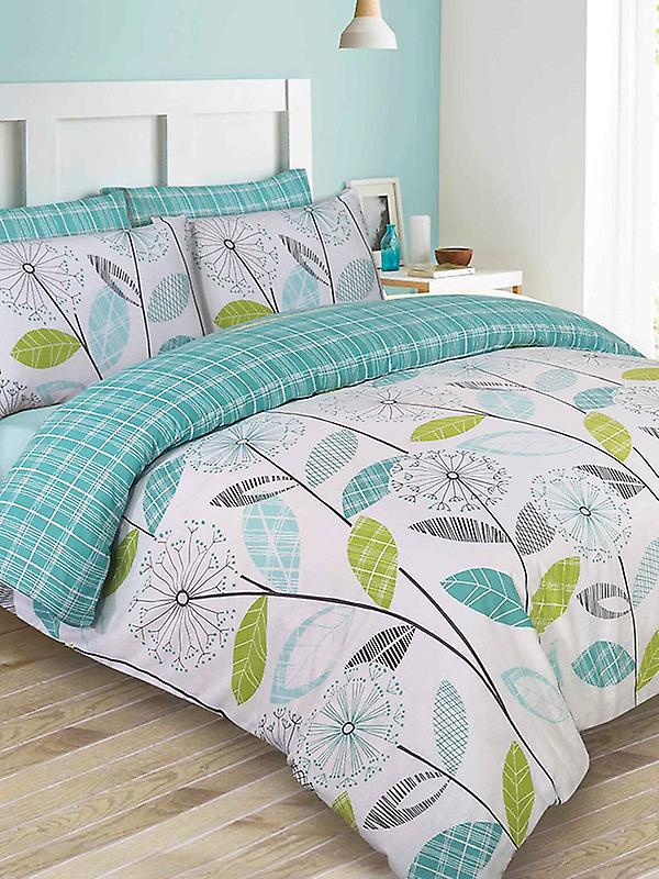 Allium Dandelion Teal Double Duvet Cover and Pillowcase Set