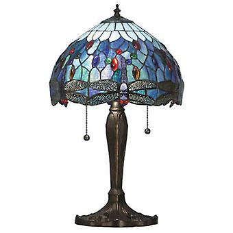 2 Light Small Table Lampe Dunkle Bronze, Blau, Tiffany Style Glas