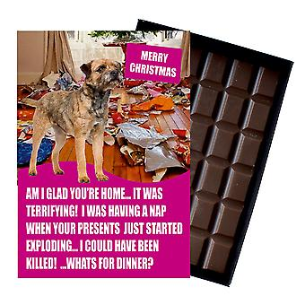 Border Terrier Funny Christmas Gift For Dog Lover Boxed Chocolate Greeting Card Xmas Present