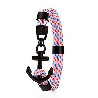 Schipper anker armband surfer band maritieme armband roestvrijstaal wit/zwart 8081