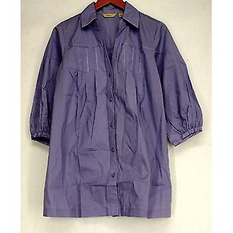 Motto 3/4 Sleeve Button Down Shirt w/ Seam Detail Purple Top A96536