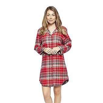 Cyberjammies 4256 Women's Belle Red Mix Check Cotton Nightshirt