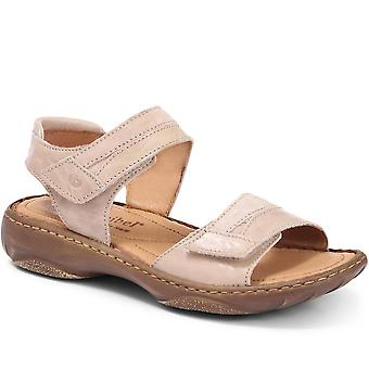 Leather touch fastening sandal
