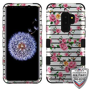 MYBAT Pink Fresh Roses (2D Silver)/Black TUFF Hybrid Phone Protector Cover for Galaxy S9 Plus