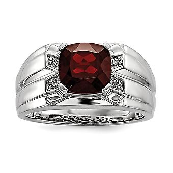 925 Sterling Silver Garnet and Diamond Square Mens Ring Jewelry Gifts for Men - Ring Size: 9 to 11