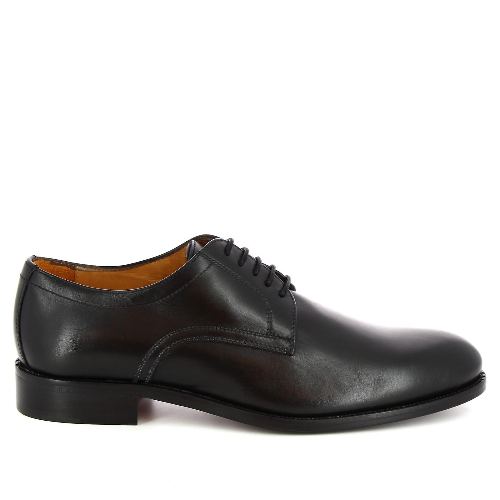 Leonardo sko menn ' s håndlaget elegante Oxford sko i svart kalv skinn