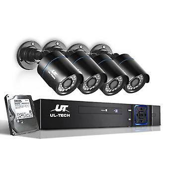 1080P 1 TB Four Channel CCTV Security Camera (4 Pcs) - Black