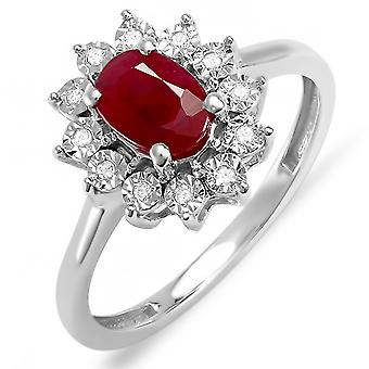 Dazzlingrock Collection Kate Middleton Diana Inspired 18K Round Diamond & Oval Ruby Engagement Ring, White Gold