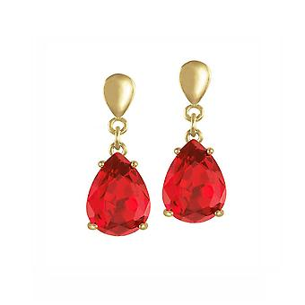Eternal Collection Seduction Teardrop Red Crystal Gold Tone Drop Screw Back Clip On Earrings