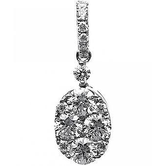 Diamant anheng-18K 750 hvitt gull-0,93 CT.