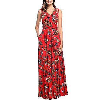 Comila Casual Maxi Dresses for Women, Elegant Wrap V Neck, Red, Size 4.0