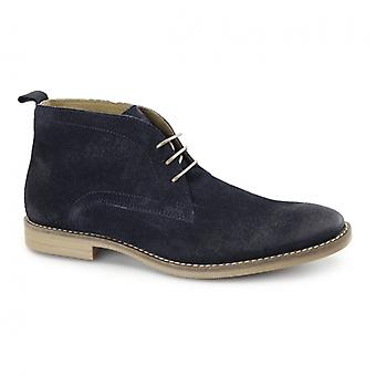Base London Dore Mens Dirty Leather Desert Boots Navy