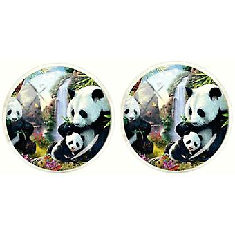 Bassin and Brown Panda Bears Cufflinks - Black/White