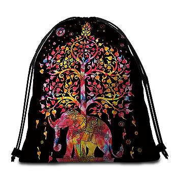 Black Background Fire Colors Indian Elephant Beach Towel