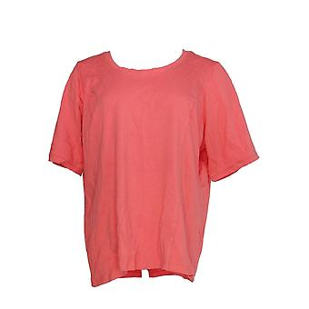 Bob Mackie Women's Top Essential Elbow Sleeve Pink A349666