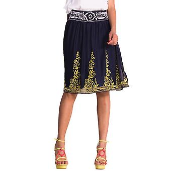 Desigual by L Women's Blue & Yellow Embroidered Amy Skirt