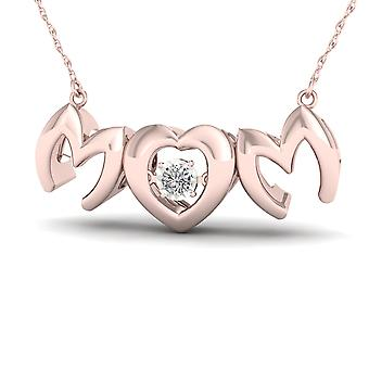 Igi certified 10k rose gold 0.01ct tdw diamond mom heart solitaire necklace