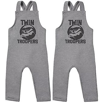 Twin Troopers Baby Twins Dungarees, Baby Twins Clothing, Baby Twins Gift