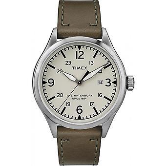 TW2R71100D7 - 創設者タイメックスの時計。ウォーターベリー レザー カーキ鋼女性ケース