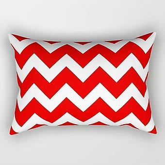 Red waves rectangle pillow