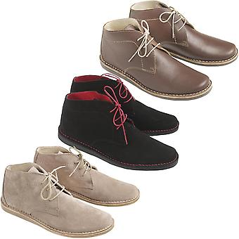 Ikon Mens Nomad Casual Classic Suede Leather Stitched Lace Up Shoes Desert Boots