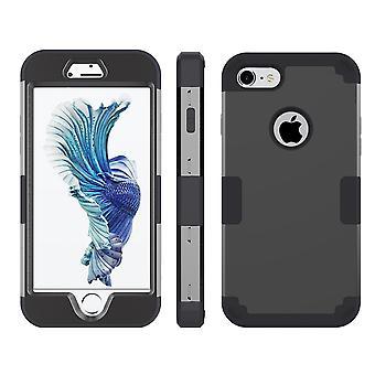 for iPhone SE(2020), 8 og 7 tilfelle, stilig trippel lag rustning holdbar beskyttende deksel, svart