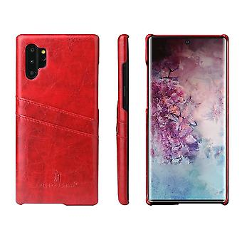 Pour Samsung Galaxy Note 10 Plus Case Red Deluxe PU Leather Back Shell Cover