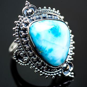 Large Larimar Ring Size 9 (925 Sterling Silver)  - Handmade Boho Vintage Jewelry RING990602