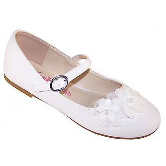 Girls white ballerina flower girl and bridesmaid shoes