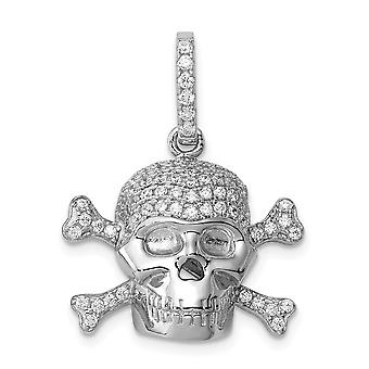 925 Sterling Silver and CZ Cubic Zirconia Simulated Diamond Skull Pendant Necklace Jewelry Gifts for Women