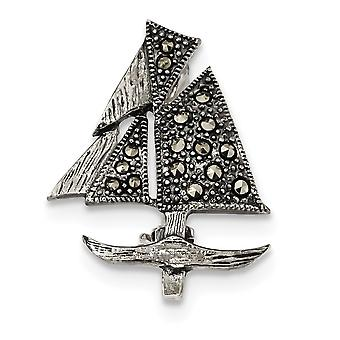 21.5mm 925 Sterling Silver Marcasite Sailboat Pin Jewelry Gifts for Women