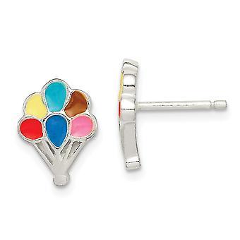 925 Sterling Silver Polished Enamel Balloon for boys or girls Post Earrings