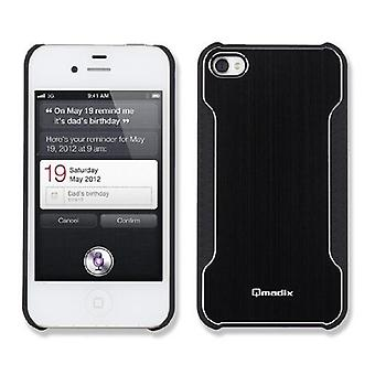 Qmadix Snap-On Face Plate for Apple iPhone 4 - Metalix Black
