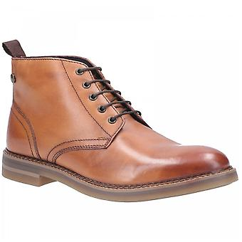 Basis London Herren Raynor Tan poliert Premium Leder Lace Up Stiefel