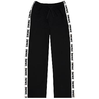 Fortnite Logo Leg Strip Boys Kids Black And White Drawstring Lounge Pants