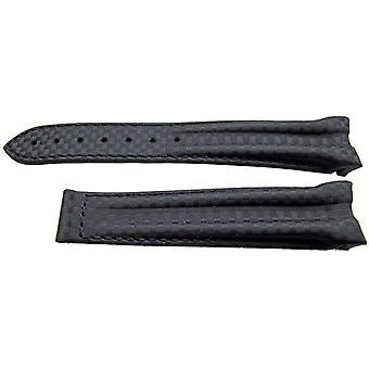 Authentieke omega horloge band 20mm rubber - zwart (cordmide) inzet