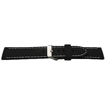 Gummi klocka rem svart med vit sömmar slät storlek 20mm till 26mm rostfritt stål spänne