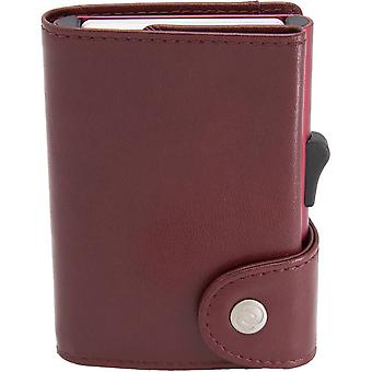 C-Secure Classic Leather XL Card Holder Wallet - Red