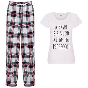 Ladies A Yawn Is A Silent Scream For Prosecco Tartan Trouser Pyjamas